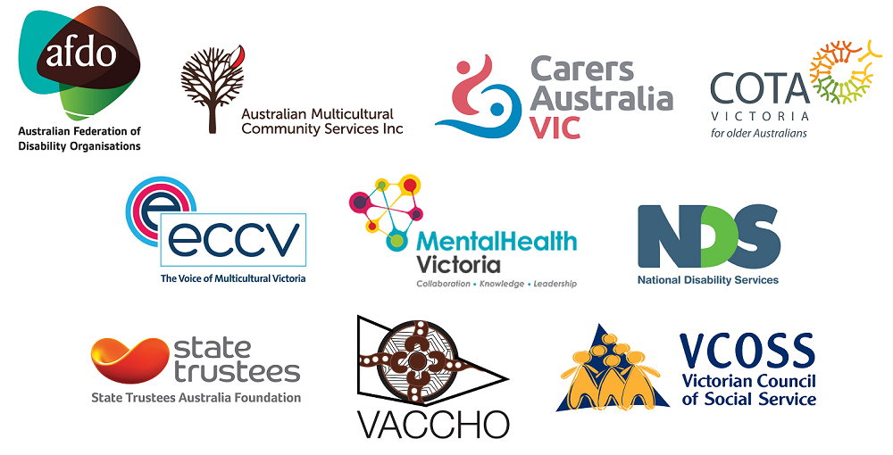 Logos for the members of the panel including: Australian Federation of Disability Organisations, Australian Multicultural Community Services, Carers Australia Victoria, Council On The Ageing Victoria, Ethnic Communities' Council of Victoria, Mental Health Victoria, National Disability Services, State Trustees Australia Foundation, Victorian Aboriginal Controlled Health Organisation Inc, and Victorian Council of Social Service.